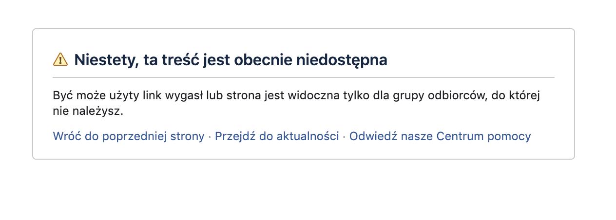 Facebook fanpage niedostępny