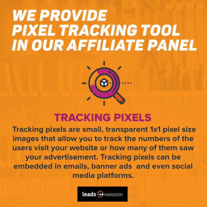 Post na Facebooka z lupą i napisem We provide pixel tracking tool in our affiliate panel